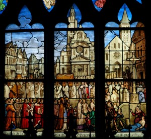 Stained window of Saint Genevieve : the procession for the saint.